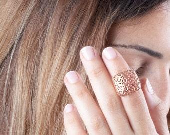 Rose Gold Ring, Statement Ring, Rose Gold Filigree Ring, Lace Ring, Filigree Ring, Victorian Ring, Filigree Lace Ring, Boho Chic Ring,