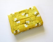 Mini Wallet with Credit Card slots and zipper Coin pocket - Yellow Bees, fabric