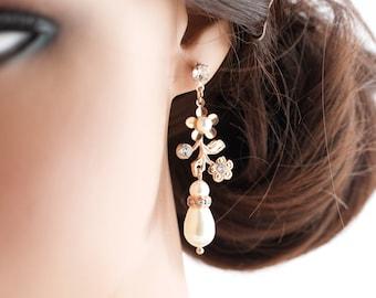 Bridal Wedding Earrings Crystal and Pearl Earrings Rose Gold Dainty Pearl Drop Wedding Jewelry  SABINE GARDEN EARRINGS