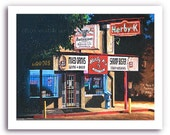 "Shreveport Art ""Herby K's Night Scene"" Seafood Restaurant Cafe Diner Bar and Grill Print Signed and Numbered"
