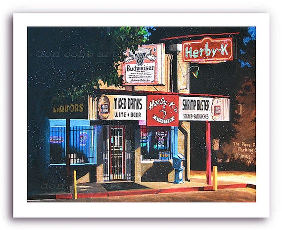 """Shreveport Art """"Herby K's Night Scene"""" Seafood Restaurant Cafe Diner Bar and Grill Print Signed and Numbered"""