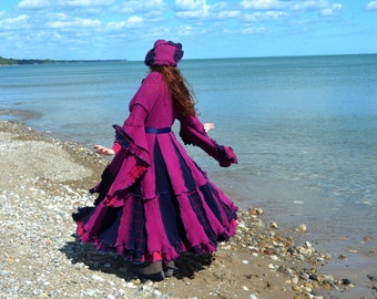 Raspberry Ganache XL Deluxe Frankensweater upcycled recycled gypsy coat 102
