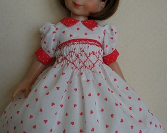 For 14 Inch Tonner Betsy McCall, a Sweet Little Smocked Valentine Dress and Embroidered Slip