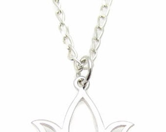 """Sterling Silver Lotus Flower Blossom Charm Pendant Necklace, 18"""" or 24"""" , Yoga Jewelry"""