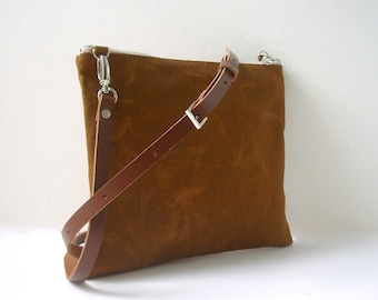 Cross Body Purse, Waxed Canvas Bag, Simple CrossBody Bag for Fall