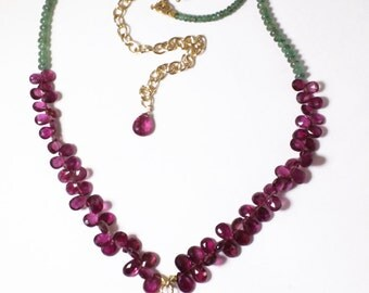 Featured in British Vogue Pink Tourmaline Necklace Rare Uvarovite Statement Necklace Precious Emerald Necklace Raw Stones GEM-N-171-TouEmUv