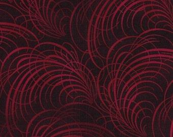 Jason Yenter Calligraphy Red Dreamweavers  Fabric 1 yard