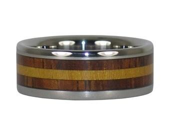 Wood Titanium Ring with Koa and Osage