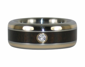 Diamond and Gold Wedding Band with Black Wood in Titanium