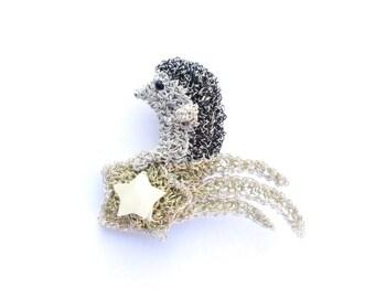 Hedgehog riding a shooting star brooch - hedgehog jewelry, star brooch, outa space, comet brooch, crochet hedgehog jewelry, unique brooch