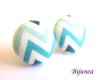 Stripe earrings - Blue stripe stud earrings - White stripes posts - Baby blue stripes post earrings sf1323
