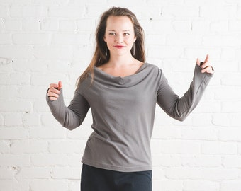 Long Sleeve Saturn Top -- Flowy Soy and Organic Cotton Cowl Neck Top, eco fashion