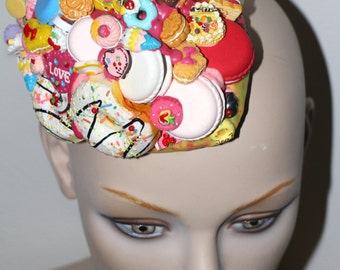 OVER THE TOP Candy sugar mountain overload macarons buscuits donuts pastel decoden couture bedazzled fascinator headpiece