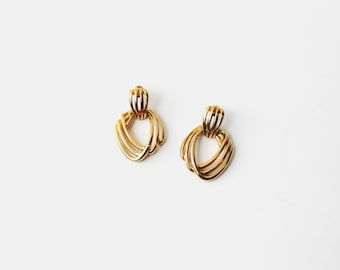 1980's Gold Toned Key Hole Stud Earrings