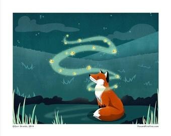FOX AND FIREFLIES - 8x10 Art Print by Geri Shields