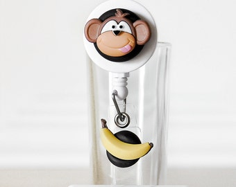 Silly Monkey Banana ID Badge Reel Retractable w/ Pocket or Alligator Clip. Gift for Teachers, Veterinarian, Doctor, Nurse or Animal Rescuers