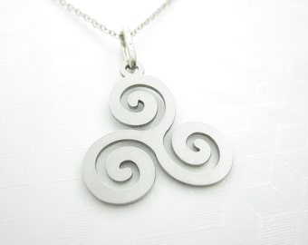 Celtic Spiral Necklace, Triskele Necklace, Celtic Symbol Necklace, Triple Spiral Necklace, Stainless Steel Charm X057