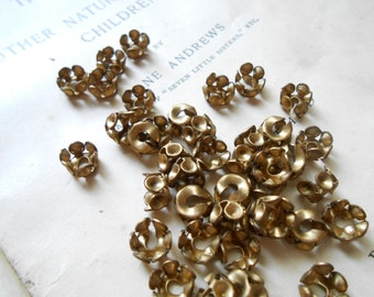 12 pc brass bead cap with rhinestone settings - vintage old new stock bead caps - antique victorian style jewelry supplies raw brass