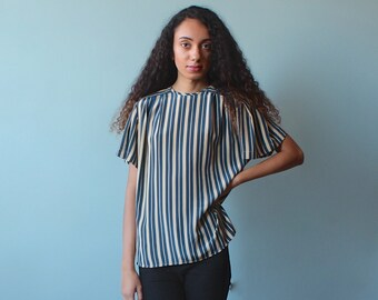 stripe blouse / tan teal stripped short sleeve top / 1980s / small - medium