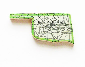 1915 Oklahoma Brooch - Pin / Unique Wearable History Gift Idea / Upcycled Antique Wood Jewelry / Timeless Gift Under 50