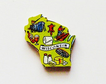 1960s Wisconsin Brooch - Pin / Unique Wearable History Gift Idea / Upcycled Vintage Hand Cut Wood Jewelry / Timeless Gift Under 25