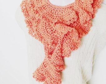Persimmon Scarf - Boa / Romantic Feminine Fashion / Pale Orange Crochet Fashion Scarf / OOAK Gift Under 100 For Her