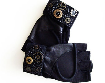 Unisex Black Fingerless Exercise Gloves / Wrist Wrap Vegan Leather / Steampunk or Faux Jewels Trims / Made-To-Order Gift Under 50