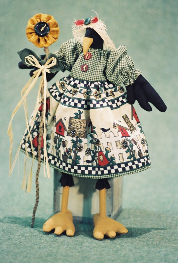 Mailed Cloth Doll Pattern  12in Country Girl Crow Bird Doll