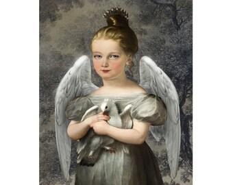 Bird Angel Dove Wings Print Digital Art Blue Grey Surreal Home Decor