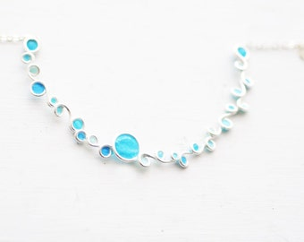 Silver Wave Necklace, Ocean Blue Jewelry, Cerulean Blue, Paper Jewelry