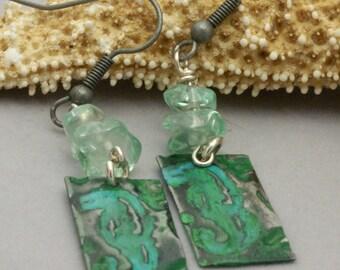 Seahorse Earrings, Blue Green Earrings, Turquoise Earrings, Green Earrings, Beach Jewelry, Patina Earrings, Verdigris Earrings, Ocean Lover