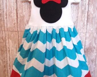 MINNIE MOUSE, disney dress, birthday minnie party dress, turquoise chevron, minnie mouse dress, first birthday party, minnie party dress