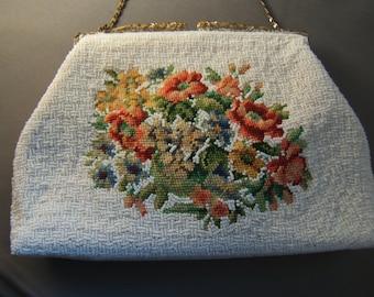 Charming Needlepoint and Seed Beaded Handbag