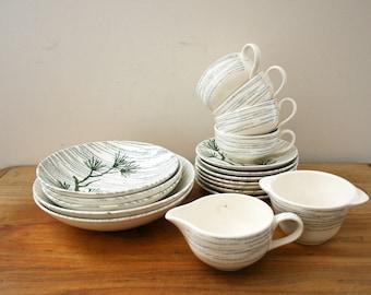 vintage 1950s 18 Pieces Midcentury Desert Pine Primrose China Bowls Cups & Saucers