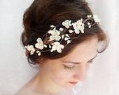 white flower crown, white flower headband, bridal hair vine, floral hair accessory, prom hair piece, floral headband, ivory flower crown #40