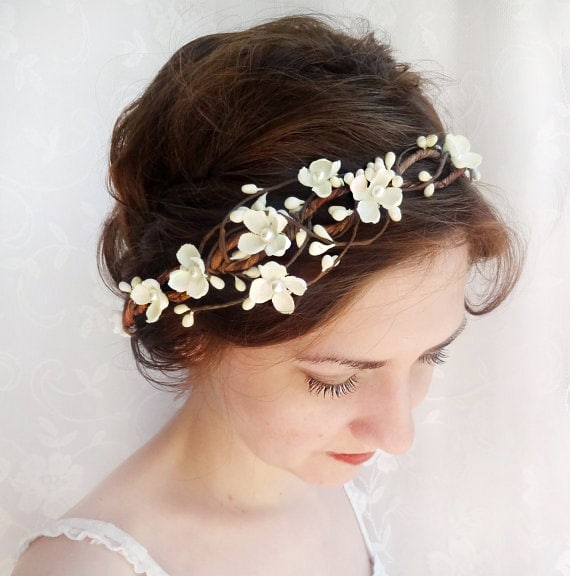 Floral Headpiece For Wedding: Ivory Flower Crown Bridal Headpiece Flower Crown Wedding