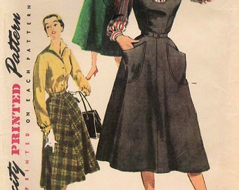 1950s Simplicity 4838 Vintage Sewing Pattern Misses Jumper, Blouse Size 14 Bust 32, Size 16 Bust 34