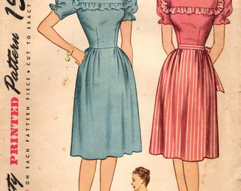 1940s Simplicity 1553 Vintage Sewing Pattern Misses Dress Size 16 Bust 34, Size 20 Bust 38