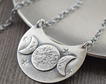 Triple moon goddess necklace triple goddess necklace crescent moon necklace sterling silver necklace gifts for her