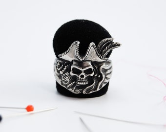 Pirate Skull Stainless Steel Ring Pincushion