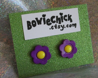 Flower Earrings, Pink, Purple, Stud Earrings, Buttons, Large Size, Nickel Free Posts