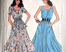 Vintage 80's Simplicity 7944 Jiffy Sewing Pattern, Misses' Dress, sizes 10-12-14, Bust 32.5-34-36, Summer Dress