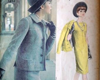 Nina Ricci  One Piece Dress and Jacket, Vogue 1313 Vogue Paris Original Vintage 60's Sewing Pattern, Size 14, 34 Bust. Uncut, Mad Men Mod