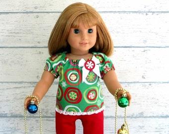 18 inch Doll Top, Christmas Top with Eyelet Lace Ruffle, Doll Peasant Top, Snowflake Shirt, Holiday Doll Shirt