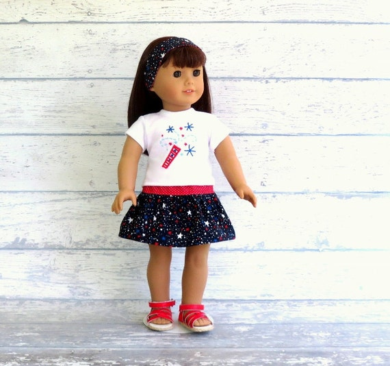 American Girl Doll Clothes 4th of July Fireworks Tee Shirt, Red White Blue Skirt, Reversible Headband