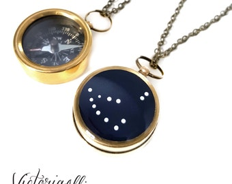 Capricorn Zodiac Constellation Necklace, Small Working Compass, Brass Chain, Pocket Compass, Bridal Party, December January Birthday Gift