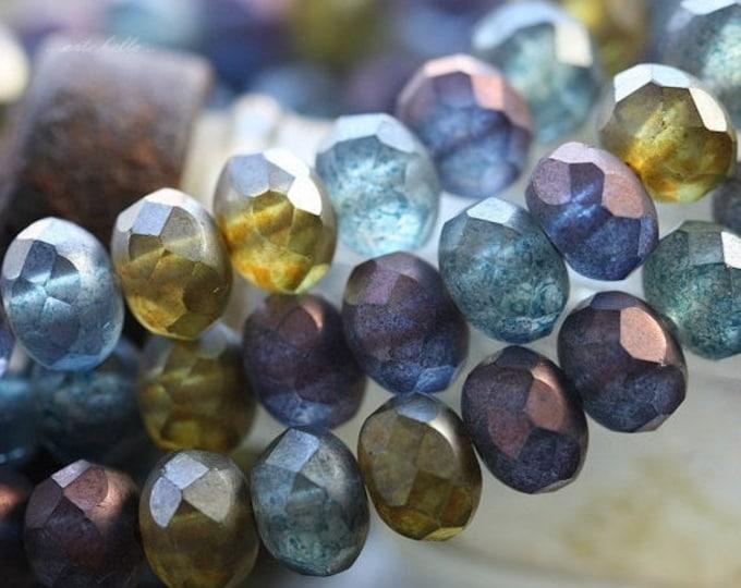 BEACH GLASS No. 3 .. 25 Premium Czech Rondelle Beads 6x9mm (4527-st)