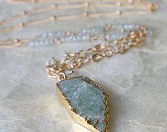 Aquamarine Necklace, Spike Necklace, Long Necklace, March Birthstone, Raw Aquamarine, Raw Gemstone, Gold Necklace, Aquamarine Jewelry