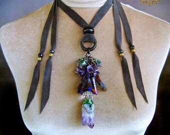 Amethyst Tribal Amulet Necklace Purple Tanzine Aura Quartz Crystal Pagan Wire Wrap Pendant Boho Chic Fashion DREAMWEAVER by Spinning Castle