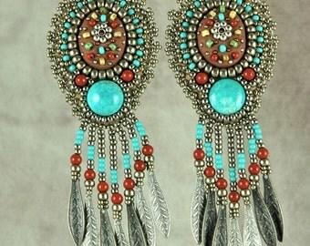 Earrings, Beaded, Handmade Mosaic and Turquoise Bead Embroidered Earrings